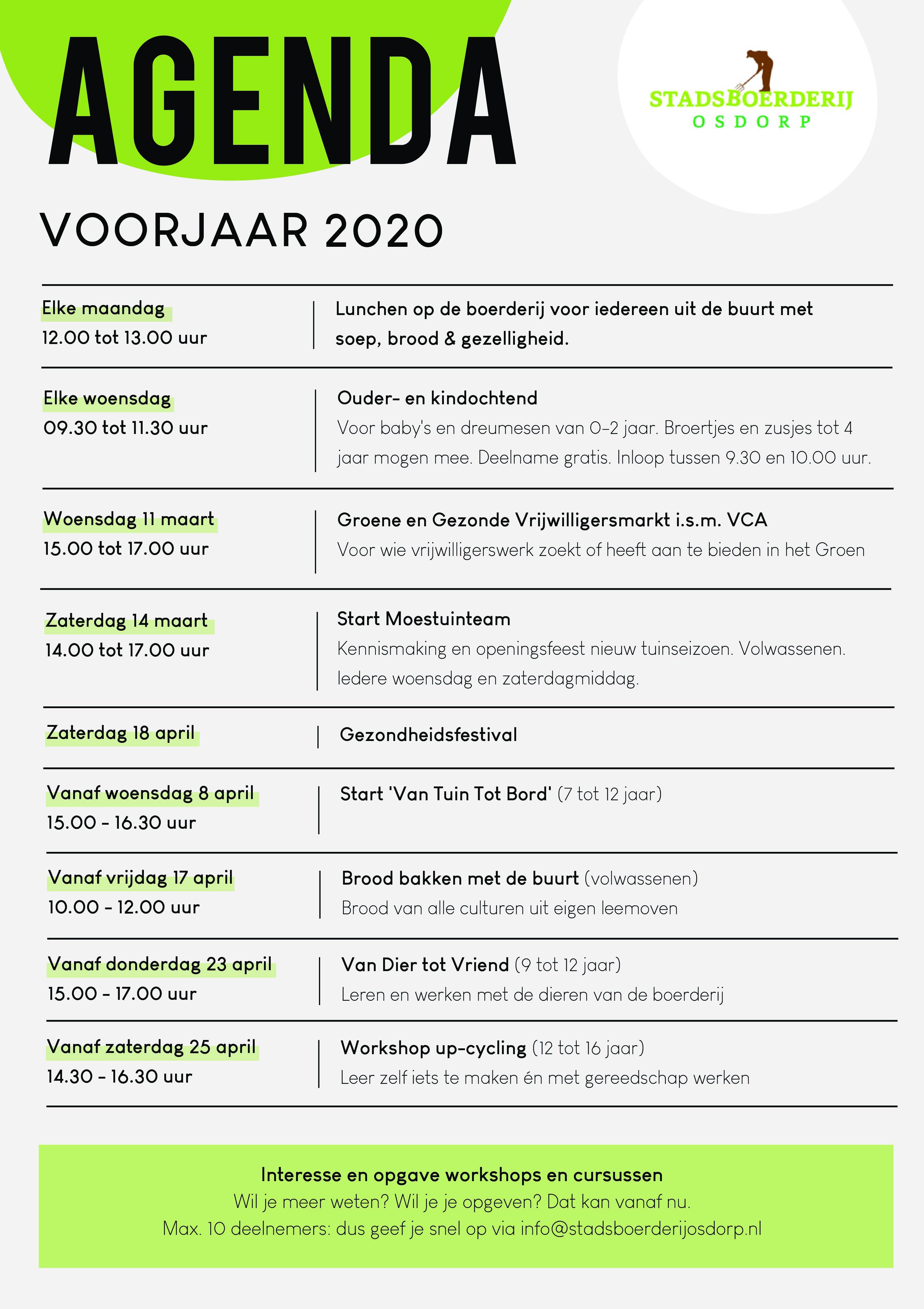 AGENDA VOORJAAR 2020