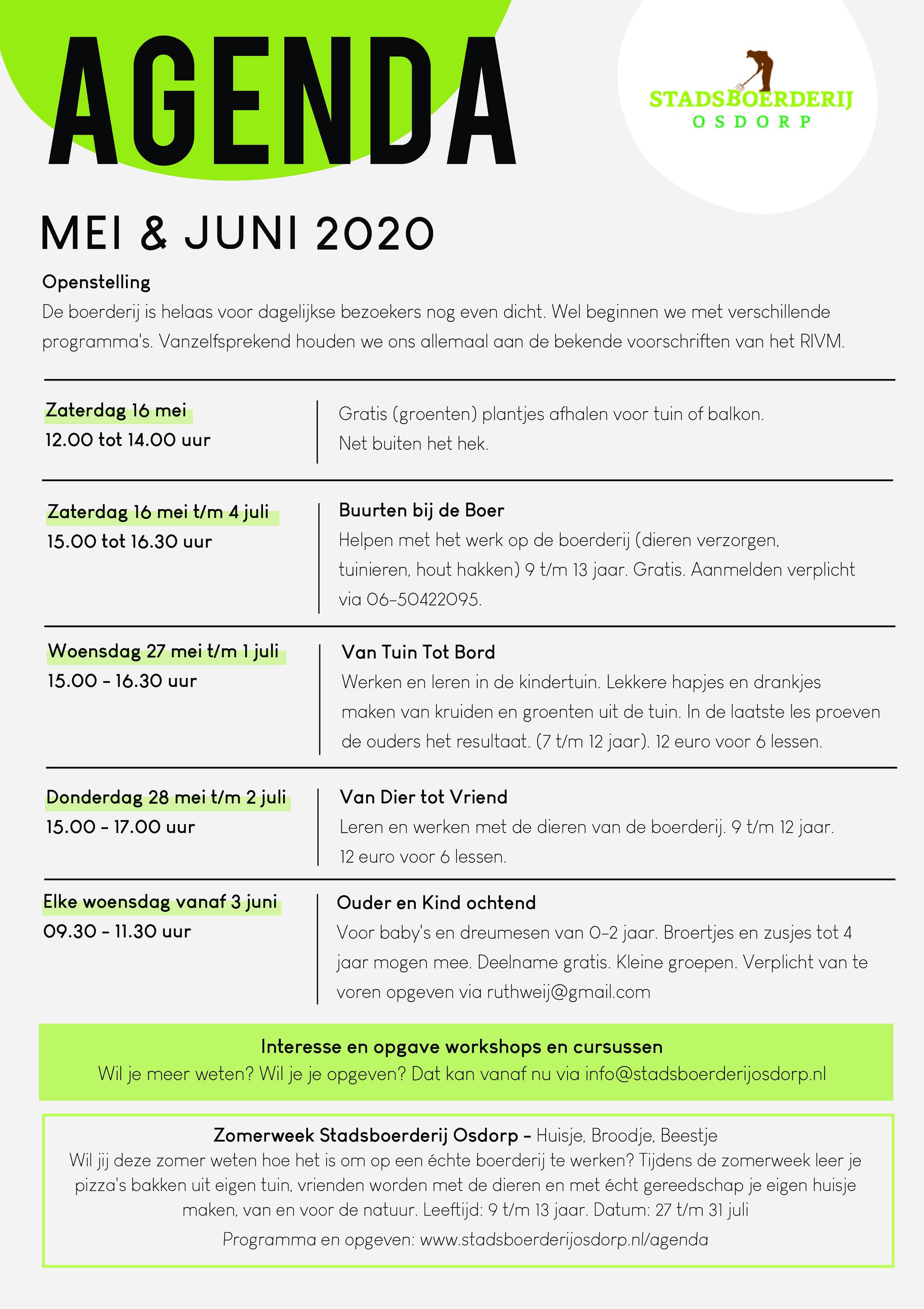 AGENDA MEI & JUNI 2020